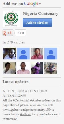 Nigeria Centenary Google Plus